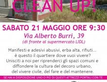 Via Alberto Burri: pulizia della strada