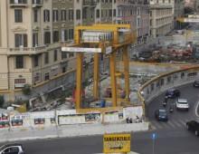 Metro C San Giovanni: gli operai in sciopero