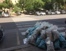 Via Taranto: strisce pedonali (con calcinacci)