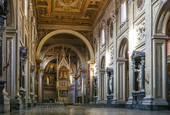 The Papal Archbasilica of St. John Lateran is the cathedral church and the official ecclesiastical seat of the Bishop of Rome, who is the Pope. Interior of the church