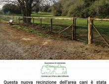 Caffarella: ripristinata la staccionata dell'area cani