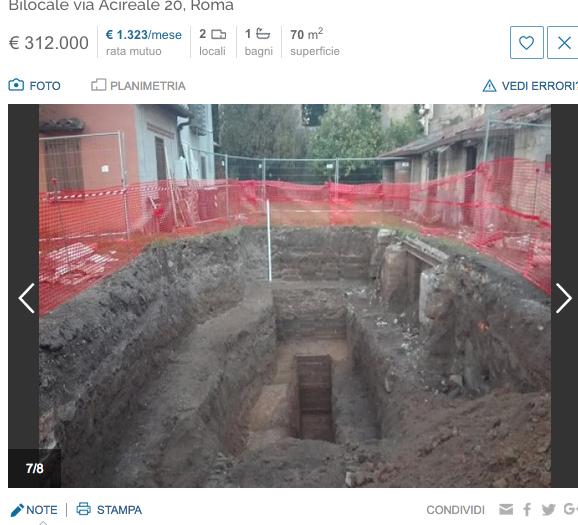 Annuncio appartamento sopra resti romani