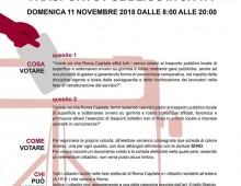 11 novembre 2018: referendum sull' Atac, sezioni elettorali nelle scuole del Municipio VII