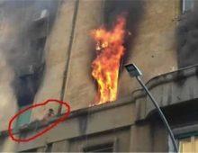 Via Niso; incendio in un appartamento e uomo intrappolato sul cornicione