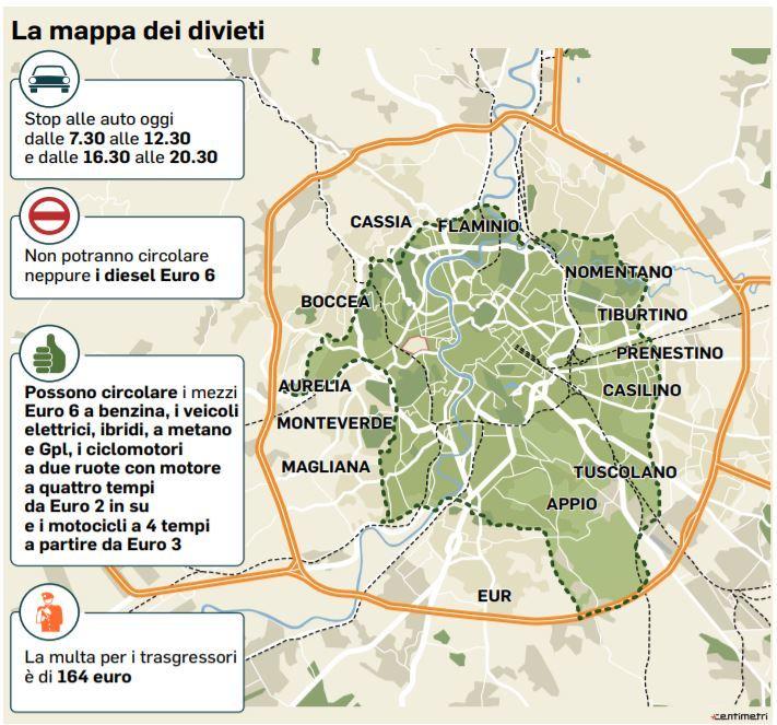 Cartina Dettagliata Fascia Verde Roma.Stop Totale A Roma Nella Fascia Verde Dei Veicoli Diesel