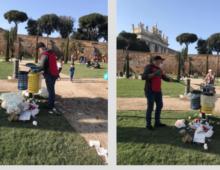 Giardini di via Sannio: i cestini svuotati dai volontari